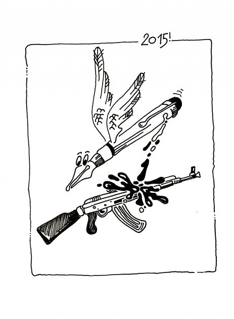 Karirkatura ke středečnímu teroristickému útoku vPaříži, kterou nakreslil Roman Hosnedl zJihočeského divadla.