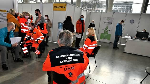 Zahájení zkušebního provozu v očkovacím centru v Českých Budějovicích.
