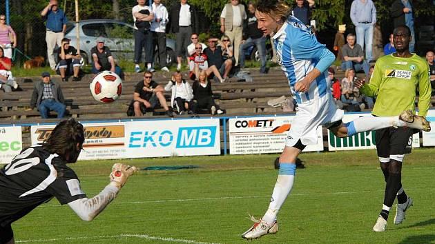 Pavel Novák proti Mostu vstřelil vítězný gól.