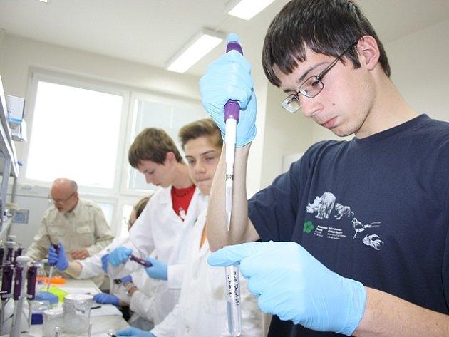 Přírodovědecké fakulty Jihočeské univerzity pod vedením docenta Jindřicha Břízy (vlevo) včera středoškoláci zjišťovali, zda ta která rostlina je geneticky modifikovaná.
