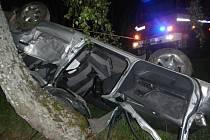 Náraz do stromu nepřežil řidič nissanu v Chvalkově.