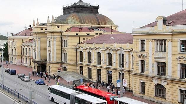 Českobudějovické vlakové nádraží.