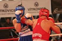V prvním zápase v Ostravě domácí Špringl (vlevo) zdolal budějovického bijce Jiřího Bursu.