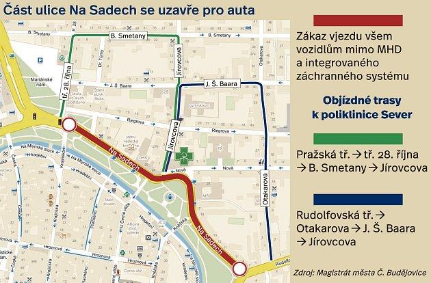 Do části ulice Na Sadech nepustí uzavírka auta.