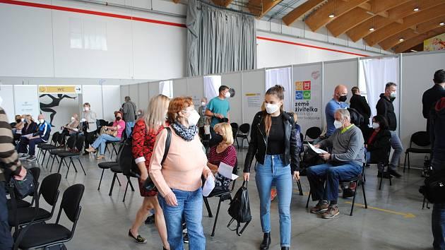 Velkokapacitní očkovací centrum OČKO v Českých Budějovicích.