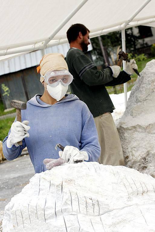 V Soběslavi pracuje šest sochařů na sympoziu, jehož téma jsou Živly. Vernisáž bude 11. září od 18 hodin, pak díla zaplní městské parky. Na snímku Barbora Krnínská.