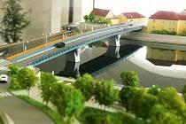 Model nového mostu, který kvůli projektu splavnění Vltavy starý historický most nahradí.