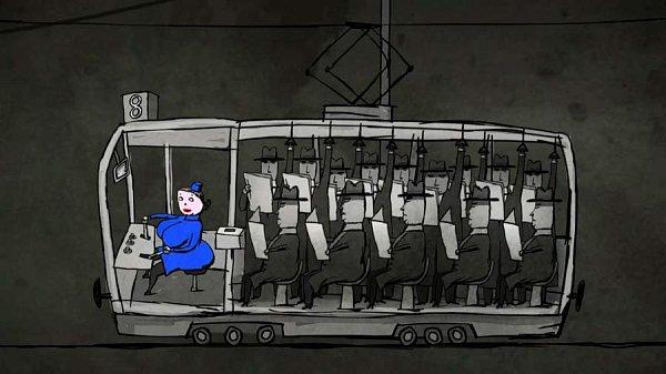 Snímek zanimovaného filmu Tramvaj, jehož autorkou je Michaela Pavlátová.