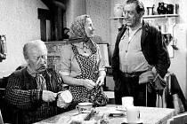 Záběr z filmu Plavecký mariáš. Starého Váňu (vlevo) hrál Jaroslav Marvan, jeho syna Ladislav H. Struna. V reálu byl Struna o dva roky starší než Marvan. Tomu v době natáčení bylo 51 let (nar. 11. 12. 1901) a jeho filmovému synovi L. H. Strunovi už 53 let.