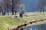 Lidé v parcích,u zámku Hluboká a českovrbenských rybnících