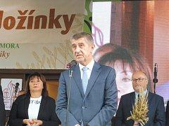 Na Zemi živitelce byly slavnostně zahájeny Národní dožínky. Na snímku předseda vlády Andrej Babiš.