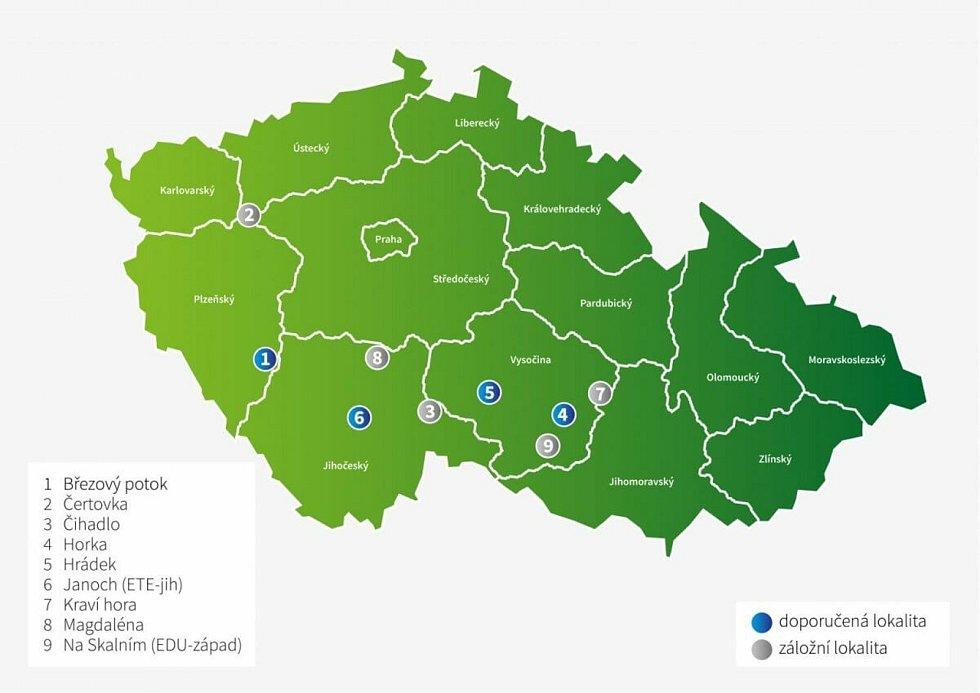 Lokalita Janoch a možné vizualizace hlubinného úložiště jaderného odpadu.