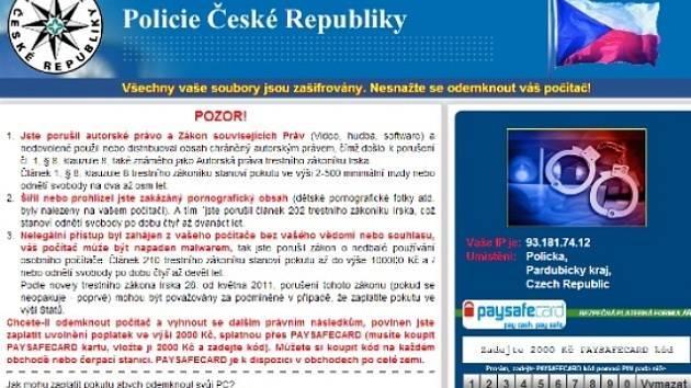 Falešnou zprávu od policie dostaly desítky lidí z celé republiky. Podvodníci požadují 2000 korun za odblokování počítače.