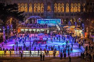 Vánoce u radnice Vídně.