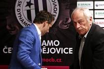 Předseda představnstva Dynama Karel Poborský a trenér František Cipro na předligové tiskovce Dynama.