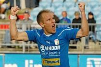 Plzeňský Daniel Kolář dal v Č. Budějovicích dva góly svého mužstva.
