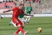 Pět zápasů čekal brněnský útočník Jakub Řezníček na vstřelenou branku v domácí nejvyšší soutěži. Půst ukončil v zápase s Jabloncem.