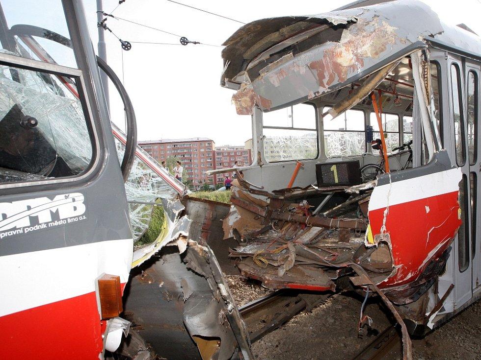 Srážka dvou tramvají v Bystrci v roce 2012.