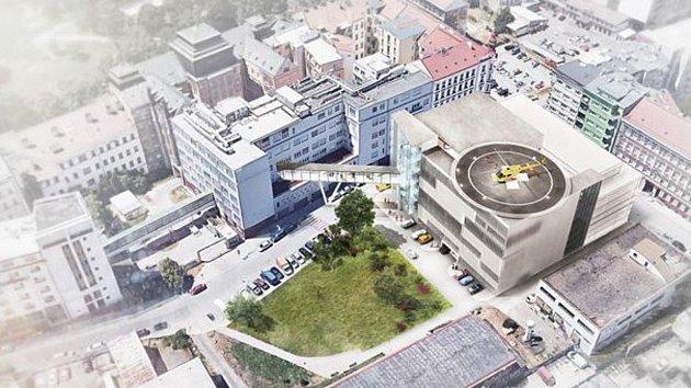 U Úrazové nemocnice v Brně má v budoucnu vyrůst nový pavilon se sedmi operačními sály a heliportem na střeše.