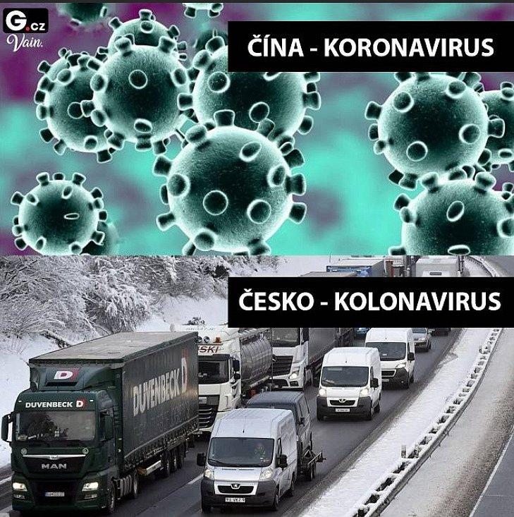 Kolonavirus se v posledních dnech rozmohl hlavně na dálnici D2 ve směru na Slovensko. Kamiony stojí v kolonách často i desítky kilometrů od ucpaného hraničního přechodu u Lanžhota.