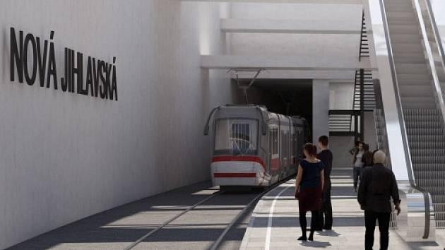 Vizualizace prodloužení tramvajové tratě do bohunického kampusu v Brně. Ilustrační foto.