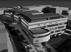 Tak by mělo vypadat výzkumné centrum ICRC ze severozápadního pohledu architektonické studie.