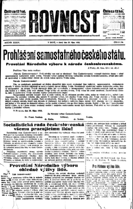 Titulní strana Rovnosti z 29. října 1918.