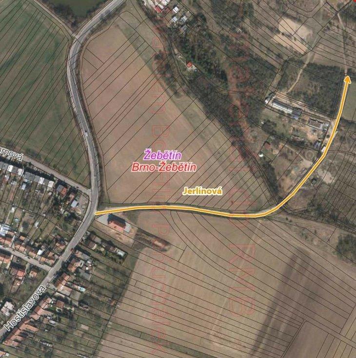 Budoucí nová Jerlínová ulice v brněnském Žebětíně.