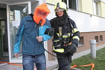 Cvičení, které mělo prověřit bezpečnost nově zrekonstruovaných budov, trvalo necelých čtyřicet minut.