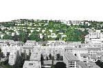 Vítězný návrh architektonické soutěže na budoucí podobu zástavby na Žlutém kopci na Starém Brně od architektonické kanceláře EA architekti.