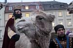 Tříkrálový průvod se třemi velbloudy prošel v úterý odpoledne centrem Brna.
