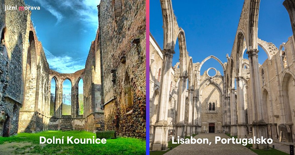 Klášter Rosa coeli v Dolních Kounicích na Brněnsku a kláštěr v portugalském Lisabonu.