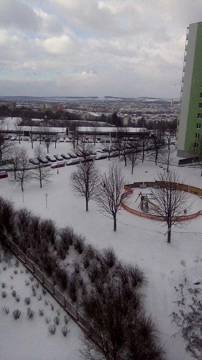 Sníh na Vinohradech.