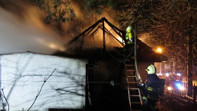 Požár domu v Židlochovicích.