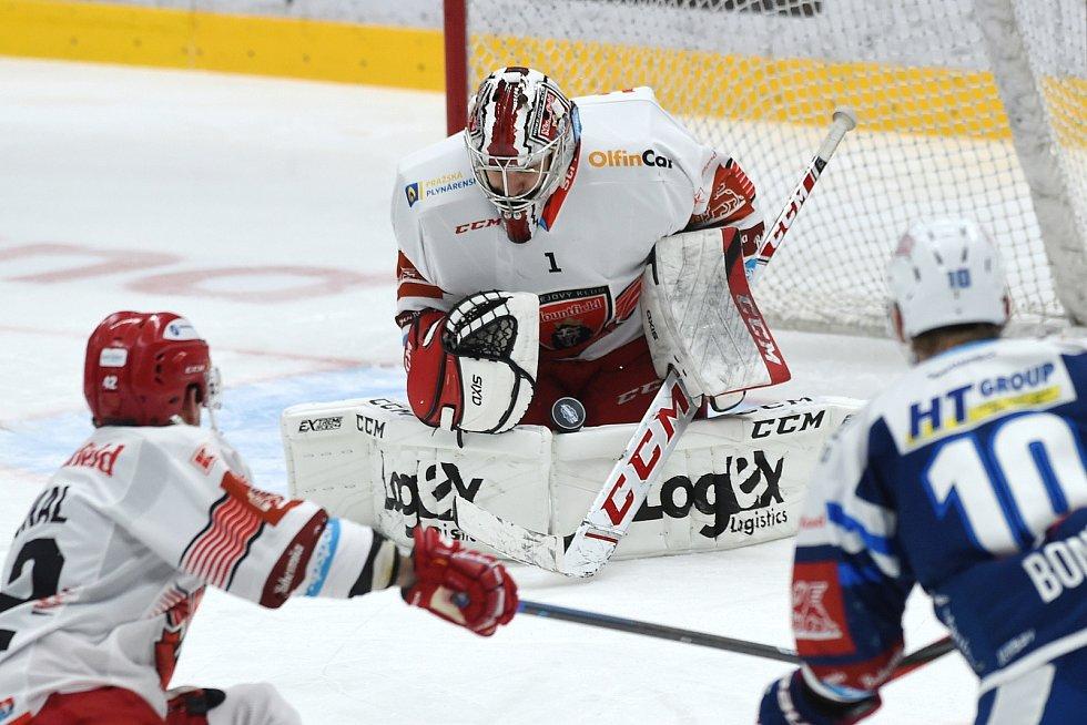 Brno 17.1.2021 - domácí HC Kometa Brno v modrém proti Mountfield Hradec Králové (Štěpán Lukeš)