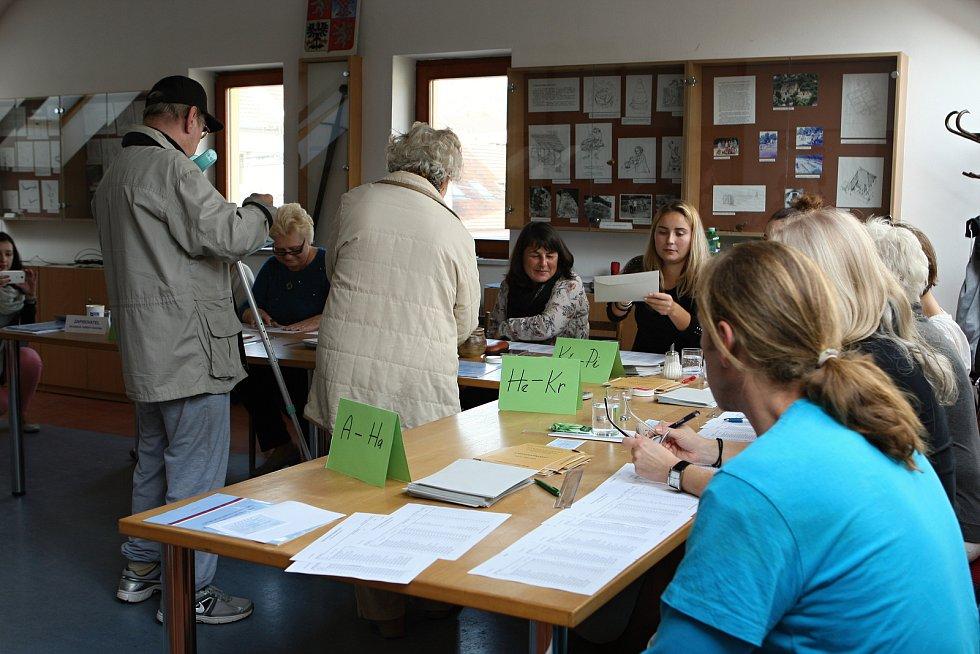 Volební místnost v Lelekovicích na Brněnsku.