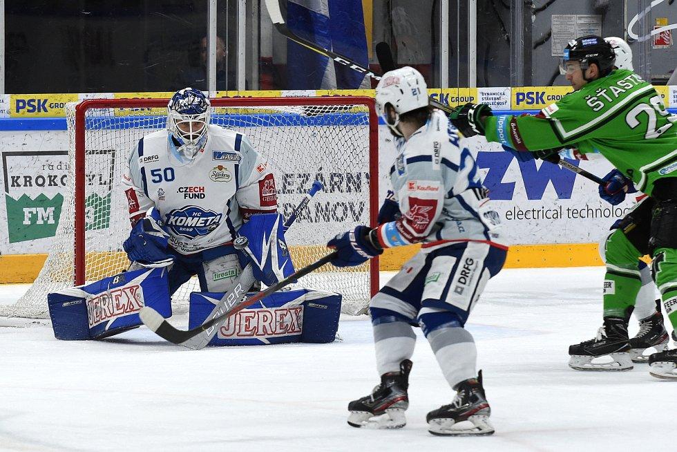 Domácí HC Kometa Brno (bílá) proti BK Mladá Boleslav (zelená).