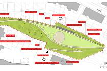 Vizualizace nového parku Tišnovka v brněnské Rotalově ulici.