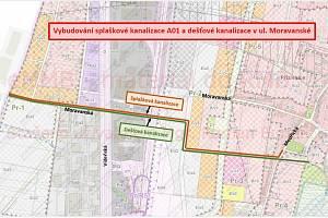 Mapa plánované kanalizace v lokalitě Moravanské lány na jihu Brna.