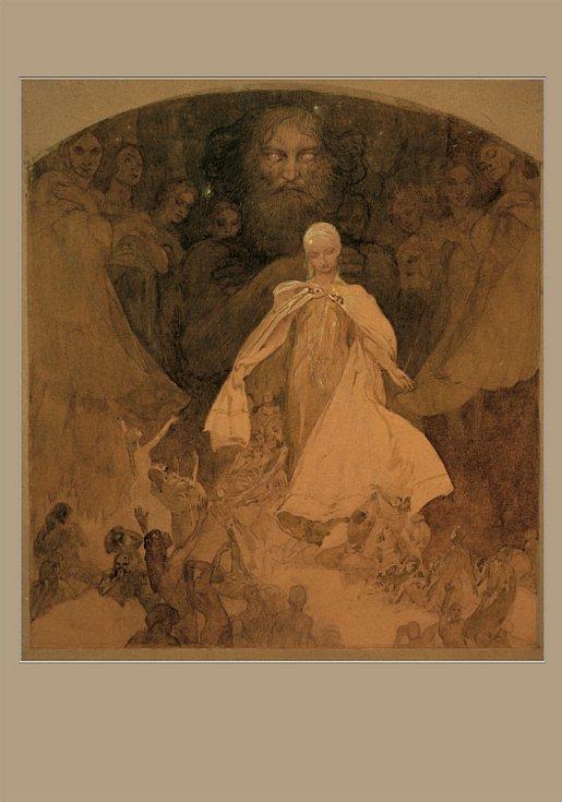 Pohlednice s vyobrazením části triptychu Tři věky: Věk moudrosti, v grafické podobě.