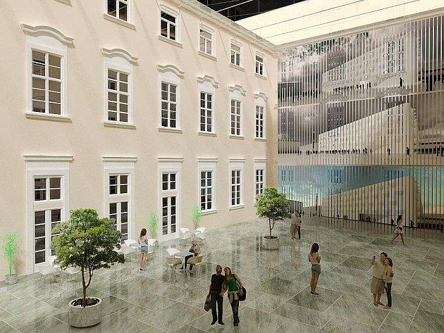 Nový návrh rekonstrukce Místodržitelského paláce na Moravském náměstí v Brně.
