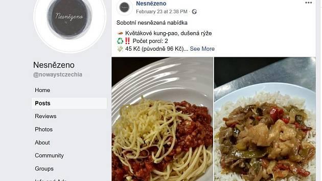Stránky iniciativy na facebooku, kde se objevují nabídky jídla.