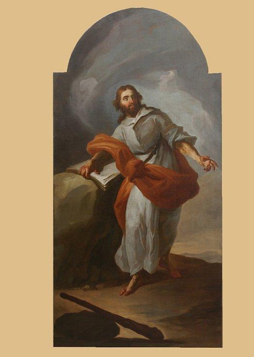 Obrazy sv. apoštola Šimona v Brně. Od barokního malíře Josefa Sterna z druhé poloviny 18. století. Obraz po restaurování.