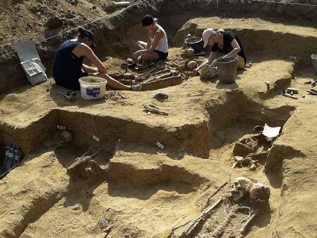 Nalezené kostry habánů u Přibic
