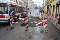 Prasklý vodovod v ulici Veveří, ilustrační foto
