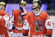 Boskovický Patrik Šebek (č. 42) při mistrovství světa v in-line hokeji v Pardubicích v roce 2011.