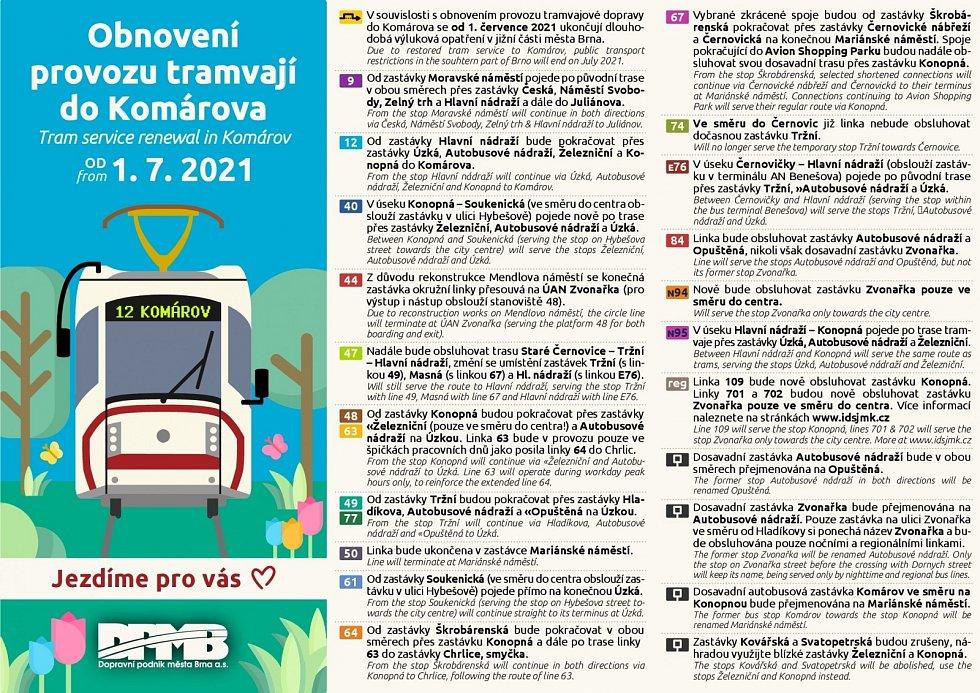 Detaily letních výluk brněnské MHD.