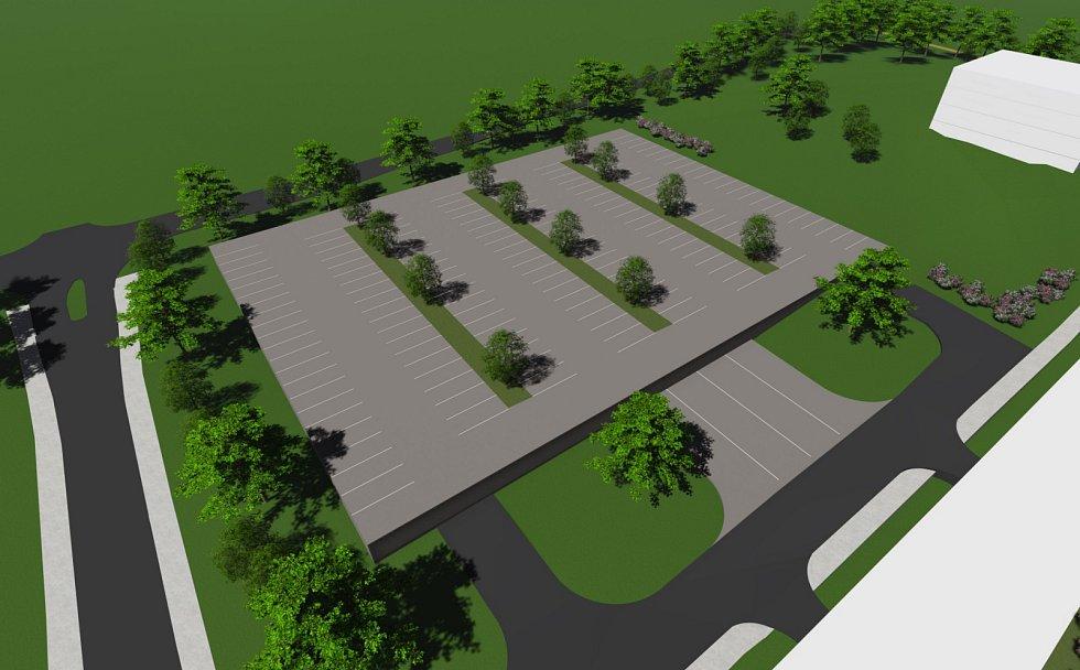 Plánovaný lázeňský komplex v Pasohlávkách. Záchytné parkoviště.