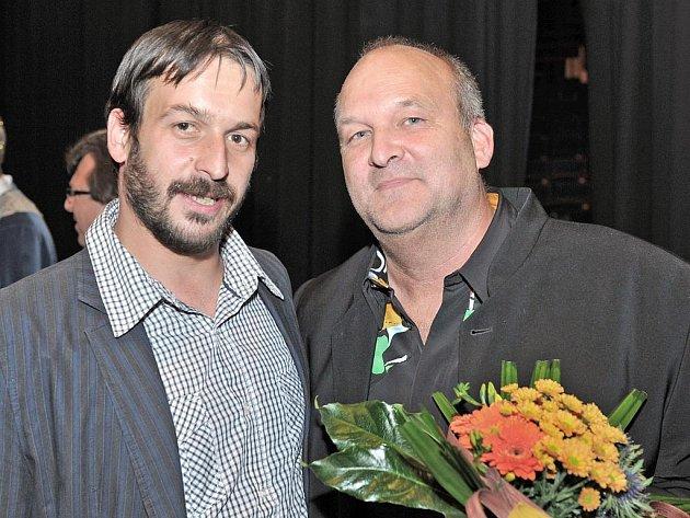 Skladatel Martin Doepke (vpravo) s režisérem inscenace Kráska a zvíře Stano Slovákem.