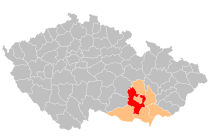 Červeně je vyznačené území okresu Brno - venkov